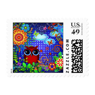 Red Owl and Flowers Art Postage