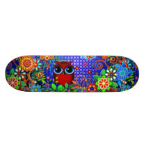 Red Owl and Flowers Art Skateboard