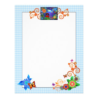 Red Owl and Flowers Art Stationary Letterhead