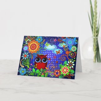 Red Owl and Flowers Bird Art Greeting Card zazzle_card