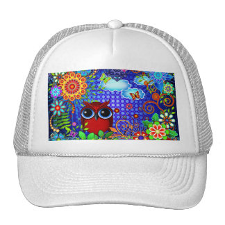 Red Owl and Flowers Bird Art Hat