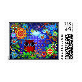 Red Owl and Flowers Bird Art Postage Stamp