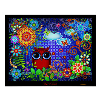 Red Owl and Flowers Bird Art Print Poster