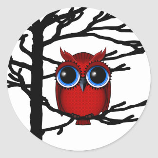 Red Owl and Flowers Bird Art Stickers