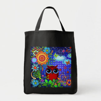 Red Owl and Flowers Bird Art Tote Bag