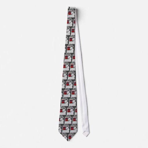 Red Owl and Tree Art Tie