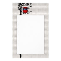 Red Owl and Trees Bird Art Stationary Stationery