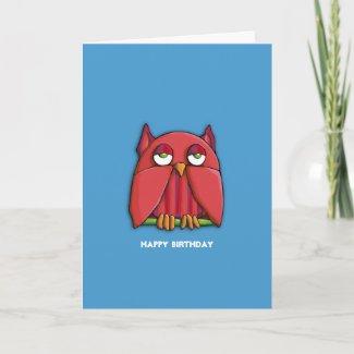 Red Owl aqua 2 Birthday Card card