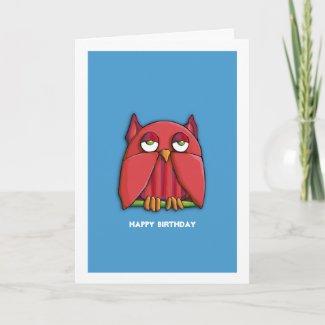 Red Owl aqua Birthday Card card