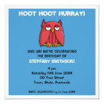 Red Owl aqua Birthday Party 2 Invitation