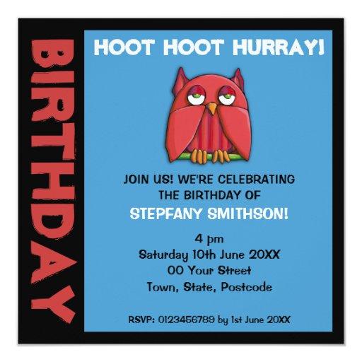 Red Owl aqua Birthday Party Invitation