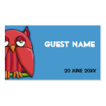 Red Owl aqua Birthday Place Card Business Cards