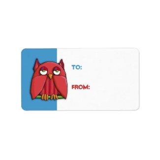 Red Owl aqua Gift Tag Sticker label