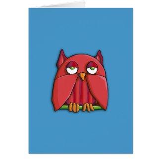 Red Owl aqua Note Card card