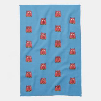 Red Owl aqua pattern Kitchen Towel