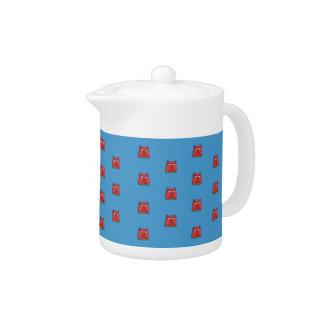 Red Owl aqua pattern Teapot