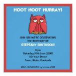Red Owl aqua red Birthday Party 2 Invitation