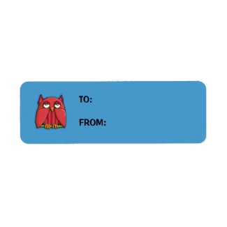 Red Owl aqua small Gift Tag Sticker label