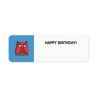 Red Owl aqua Small Happy Birthday Gift Tag Sticker label