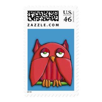 Red Owl aqua Stamp stamp