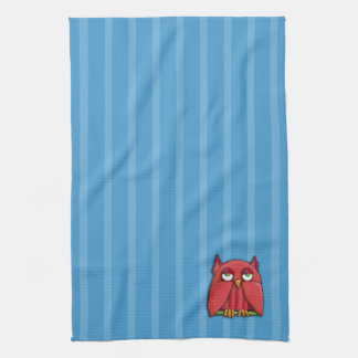 Red Owl aqua stripes Kitchen Towel
