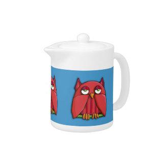 Red Owl aqua Teapot