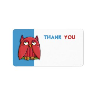 Red Owl aqua Thank You Gift Tag Sticker label
