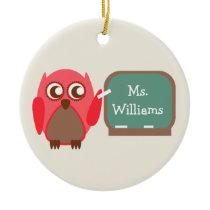Red Owl At Chalkboard Teacher Ornament