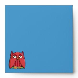 Red Owl Birthday aqua Square Invitation Envelope envelope