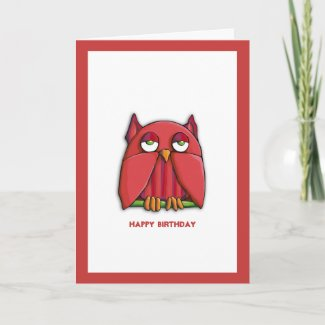 Red Owl Birthday Card card