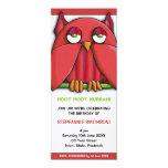 "Red Owl Birthday Party 3 Invitation 4"" X 9.25"" Invitation Card"