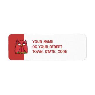 Red Owl Birthday red small Return Address Label