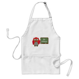 Red Owl Black Chevron Teacher At Chalkboard Adult Apron