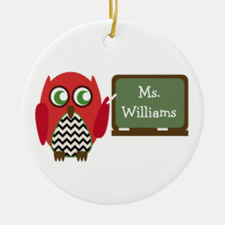 Red Owl Black Chevron Teacher At Chalkboard Double-Sided Ceramic Round Christmas Ornament