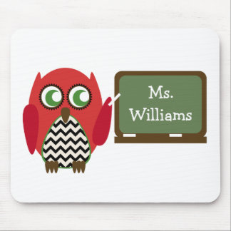 Red Owl Black Chevron Teacher At Chalkboard Mouse Pad
