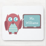 Red Owl Blue Chevron Teacher At Chalkboard Mousepads
