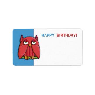 Red Owl blue Happy Birthday 2 Gift Tag Sticker Custom Address Label