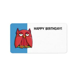 Red Owl blue Happy Birthday Gift Tag Sticker Address Label