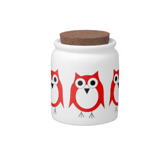 Red Owl Candy Jar