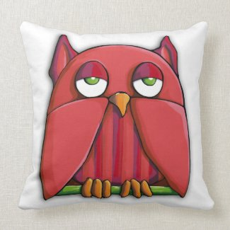 Red Owl full Cushion throwpillow