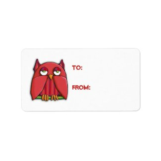 Red Owl Gift Tag Sticker label