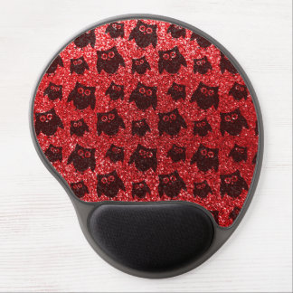 Red owl glitter pattern gel mouse pad