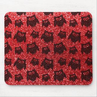 Red owl glitter pattern mousepad