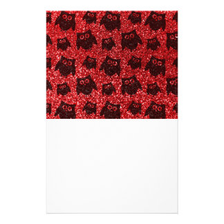 Red owl glitter pattern stationery