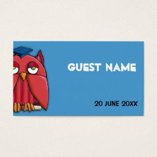 Red Owl Grad aqua Place Card