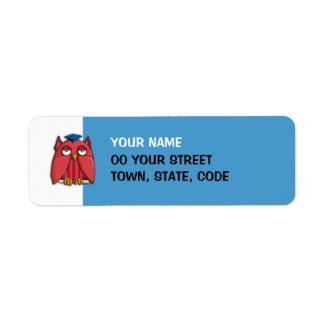 Red Owl Grad aqua small Return Address Label label