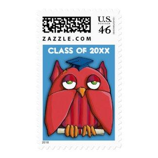 Red Owl Grad aqua Stamp stamp