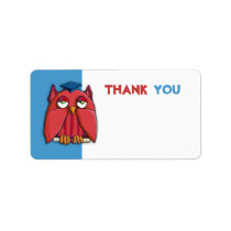 Red Owl Grad aqua Thank You Gift Tag Sticker