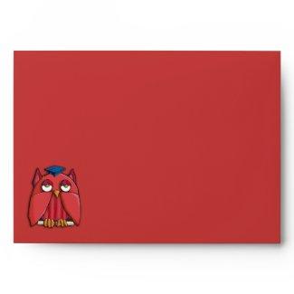 Red Owl Grad red A7 Card Envelope envelope