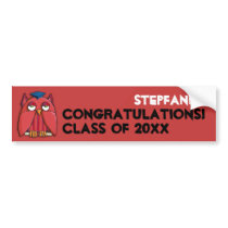 Red Owl Grad red Birthday Bumper Sticker